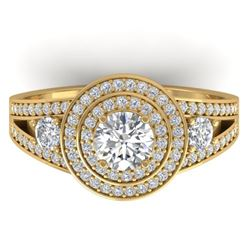 1.50 CTW Certified VS/SI Diamond Art Deco 3 Stone Halo Ring 14K Yellow Gold - REF-170Y8K - 30374