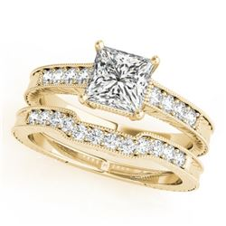 0.86 CTW Certified VS/SI Princess Diamond Solitaire 2Pc Set Antique 14K Yellow Gold - REF-153W8F - 3