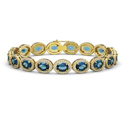 24.32 CTW London Topaz & Diamond Halo Bracelet 10K Yellow Gold - REF-256F8N - 40639