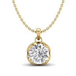 1.13 CTW VS/SI Diamond Solitaire Art Deco Necklace 18K Yellow Gold - REF-217H3A - 36865
