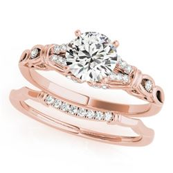 1 CTW Certified VS/SI Diamond Solitaire 2Pc Wedding Set 14K Rose Gold - REF-187Y5K - 31896