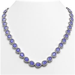 40.53 CTW Tanzanite & Diamond Halo Necklace 10K White Gold - REF-845N8Y - 41051