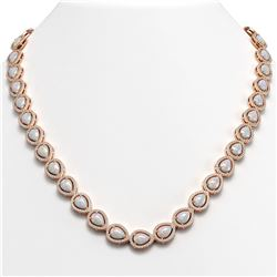 27.93 CTW Opal & Diamond Halo Necklace 10K Rose Gold - REF-644A5X - 41058