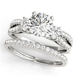 1.46 CTW Certified VS/SI Diamond 3 Stone 2Pc Wedding Set 14K White Gold - REF-224K4W - 32039