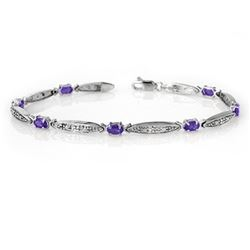 1.82 CTW Tanzanite & Diamond Bracelet 10K White Gold - REF-39K8W - 13770