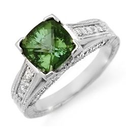3.0 CTW Green Tourmaline & Diamond Ring 18K White Gold - REF-103M3H - 11772