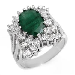 4.75 CTW Emerald & Diamond Ring 18K White Gold - REF-154W2F - 13364