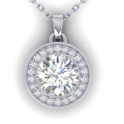 0.96 CTW Certified VS/SI Diamond Art Deco Micro Halo Necklace 14K White Gold - REF-170F4N - 30357