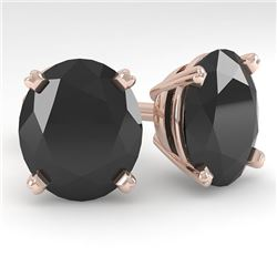 18.0 CTW Oval Black Diamond Stud Designer Earrings 18K Rose Gold - REF-384H5A - 32336