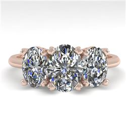 2.0 CTW Oval Cut VS/SI Diamond 3 Stone Designer Ring 18K Rose Gold - REF-390Y2K - 32468