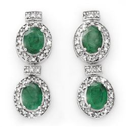 5.75 CTW Emerald & Diamond Earrings 14K White Gold - REF-136T4M - 13404