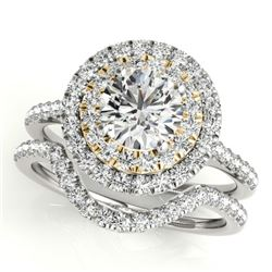 1.70 CTW Certified VS/SI Diamond 2Pc Set Solitaire Halo 14K White & Yellow Gold - REF-400K2W - 30689