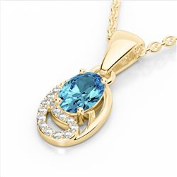 1.25 CTW Sky Blue Topaz & Micro Pave VS/SI Diamond Necklace 10K Yellow Gold - REF-19T6M - 22345