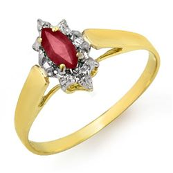 0.33 CTW Ruby Ring 10K Yellow Gold - REF-9W3F - 12871