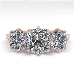 2 CTW Solitaire Past Present Future VS/SI Cushion Diamond Ring 18K Rose Gold - REF-414H2A - 35786