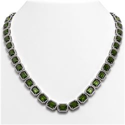60.49 CTW Tourmaline & Diamond Halo Necklace 10K White Gold - REF-928T2M - 41351