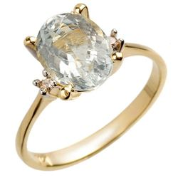 2.04 CTW Aquamarine & Diamond Ring 14K Yellow Gold - REF-22H2A - 10038