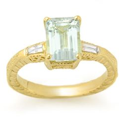 2.20 CTW Aquamarine & Diamond Ring 10K Yellow Gold - REF-47F5N - 11684