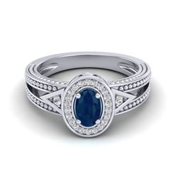 0.83 CTW Sapphire & VS/SI Diamond Solitaire Halo Fashion Ring 10K White Gold - REF-26F8N - 20841