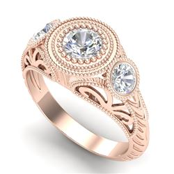 1.06 CTW VS/SI Diamond Solitaire Art Deco 3 Stone Ring 18K Rose Gold - REF-180K2W - 36894