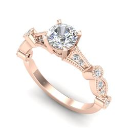 1.03 CTW VS/SI Diamond Solitaire Art Deco Ring 18K Rose Gold - REF-203T6M - 36972