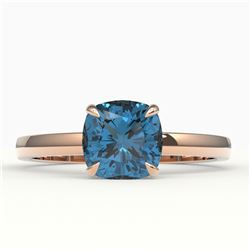 1.50 CTW Cushion Cut London Blue Topaz Designer Ring 14K Rose Gold - REF-21X3T - 22148
