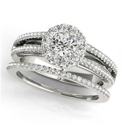 0.89 CTW Certified VS/SI Diamond 2Pc Set Solitaire Halo 14K White Gold - REF-120A8X - 31026