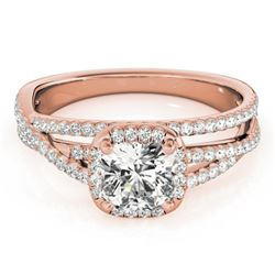 1 CTW Certified VS/SI Cushion Diamond Solitaire Halo Ring 18K Rose Gold - REF-183H3A - 27091