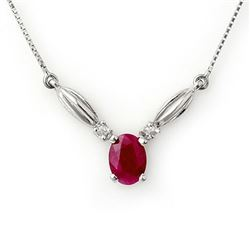 1.30 CTW Ruby & Diamond Necklace 10K White Gold - REF-19N8Y - 11458