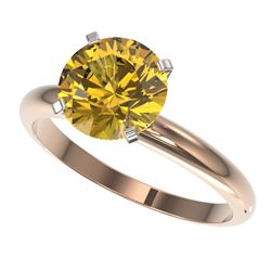 2.50 CTW Certified Intense Yellow SI Diamond Solitaire Ring 10K Rose Gold - REF-836N4Y - 32951