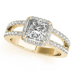 1.26 CTW Certified VS/SI Princess Diamond Solitaire Halo Ring 18K Yellow Gold - REF-246W9F - 27137