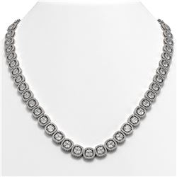 37.60 CTW Cushion Diamond Designer Necklace 18K White Gold - REF-6959M6H - 42713