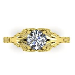 1 CTW Solitaire Certified VS/SI Diamond Ring 14K Yellow Gold - REF-289F6N - 38540