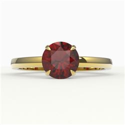 2 CTW Garnet Designer Inspired Solitaire Engagement Ring 18K Yellow Gold - REF-35X5T - 22224