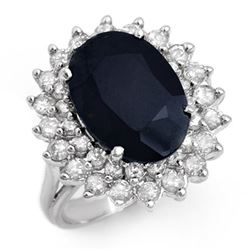 8.70 CTW Blue Sapphire & Diamond Ring 14K White Gold - REF-150Y9K - 12885