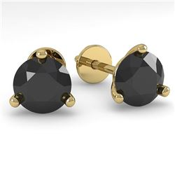 1.0 CTW Black Certified Diamond Stud Earrings 18K Yellow Gold - REF-36H9A - 32206