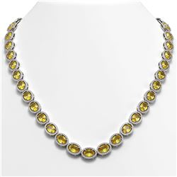 46.39 CTW Fancy Citrine & Diamond Halo Necklace 10K White Gold - REF-553M6H - 40595