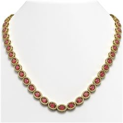 31.1 CTW Tourmaline & Diamond Halo Necklace 10K Yellow Gold - REF-600H2A - 40420