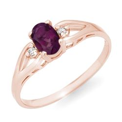 0.53 CTW Amethyst & Diamond Ring 14K Rose Gold - REF-14A2X - 12404