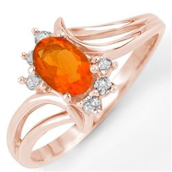 0.50 CTW Opal & Diamond Ring 14K Rose Gold - REF-26H5A - 11107