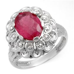 2.25 CTW Ruby Ring 10K White Gold - REF-29K8W - 10217