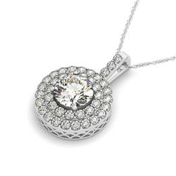2.5 CTW Certified VS/SI Diamond Solitaire Halo Necklace 14K White Gold - REF-508Y6K - 30253