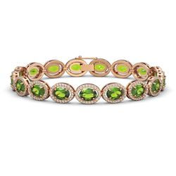 21.13 CTW Peridot & Diamond Halo Bracelet 10K Rose Gold - REF-286H5A - 40629