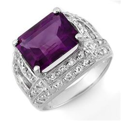 5.0 CTW Amethyst & Diamond Ring 14K White Gold - REF-70H5A - 10264