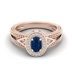 0.83 CTW Sapphire & VS/SI Diamond Solitaire Halo Fashion Ring 10K Rose Gold - REF-26A8X - 20840