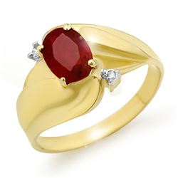 1.08 CTW Ruby & Diamond Ring 10K Yellow Gold - REF-18F9N - 12784