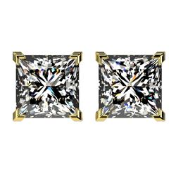 2.50 CTW Certified VS/SI Quality Princess Diamond Stud Earrings 10K Yellow Gold - REF-840T2M - 33116