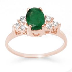 1.18 CTW Emerald & Diamond Ring 14K Rose Gold - REF-26A4X - 13965