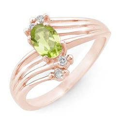 0.55 CTW Peridot & Diamond Ring 10K Rose Gold - REF-23M6H - 13435