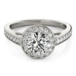 0.9 CTW Certified VS/SI Diamond Solitaire Halo Ring 18K White Gold - REF-122F2N - 26560